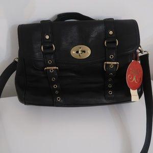 Vieta Black Satchel Messenger Shoulder Bag